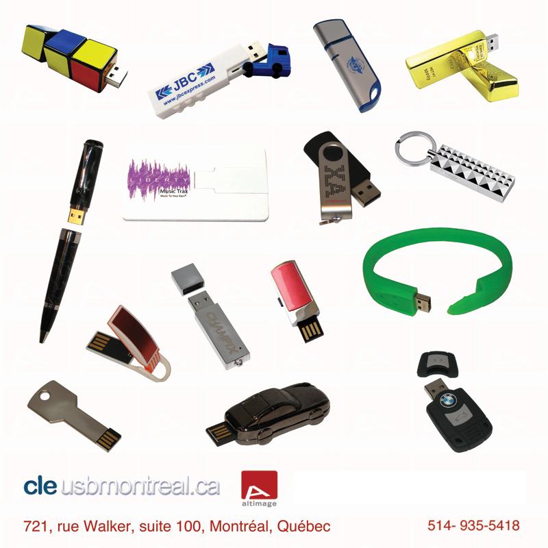 Exemples de clés USB personnalisées